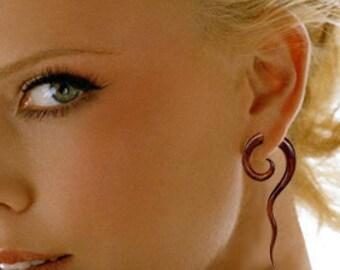Fake Gauge Earrings Wood, Tribal Earrings, Wood Earrings, Cheaters. Split, Handmade - Curly Tail Spirals -Tropical Wood Jewelry - W10