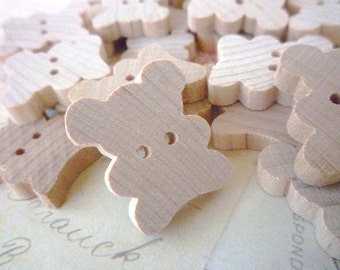 CLEARANCE Wooden Buttons, Teddy Bear, Pack of 5