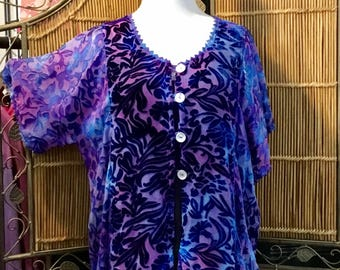 Blue Violet Button Top