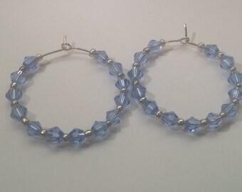 Blue Crystal Hoop Earrings Gift for Her by hipknitta