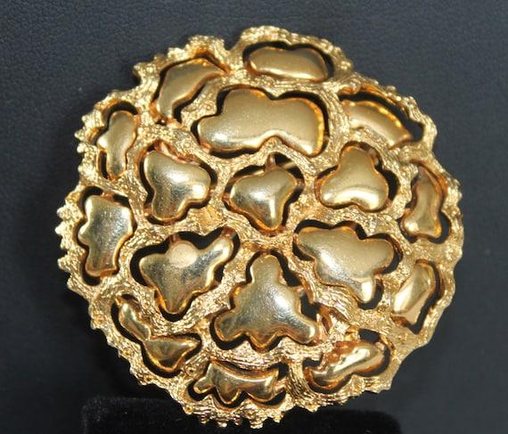 Brooch Vintage Gold Flower Brooch Pin, Designer ROGET Brooch, Large Gold Brooch, 1950s Modernist Abstract Costume Jewelry