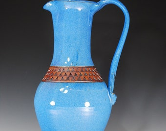 Tall Pitcher in Sky Blue Glaze with Textured Accent--Wheel Thrown Stoneware Clay--SHIPPING DAILY--
