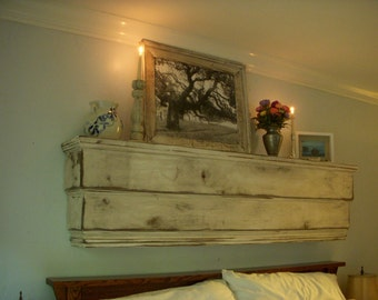 "Wood Shelf, Cottage Chic, Home Decor, Large Wooden Shelf, Bedroom Furniture, Headboard, Floating Wall Shelf, Ledge, Chic Shabby Decor,  50"""