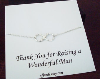 Love Infinity Charm Sterling Silver Bracelet ~~Personalized Jewelry Gift Card for Mother in Law, Mother of the Groom, Thank you Card