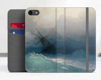"Aivazovsky ""Ship on Stormy Seas"" Art Samsung Galaxy S8 folio case iPhone 7 folio case Galaxy S9 folio Phone case. WC-IAI-02"