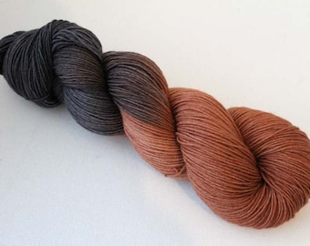 Chocolate Brownies, Hand dyed BFL Sock 4-ply, 75/25 sw BFL/nylon