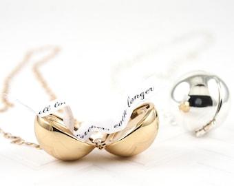 Secret Message Locket Necklace -  Locket Necklace - Personalized Locket Necklace - Round Gold Locket - Ball Locket Necklace for Women