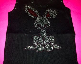 Children's Easter Bunny shirt. Bunny Rhinestone Shirt. Kids Bunny rabbit shirt. Cute Bunny Shirt. Kids Bunny T-shirt. Girls Easter Shirt.