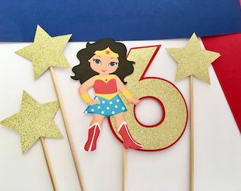 Wonder Woman (Girl) Cake Topper   Girl Super Hero   Girl Birthday  Glitter Topper   Wonder Woman party  Super Hero  Birthday Topper