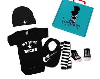 ROCKSTAR BABY KIT My Mom Rocks black onesie, leg warmers, star hat guitar bib, booties & optional gift box
