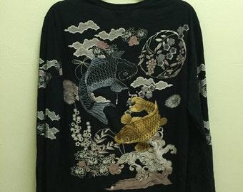 Rare Vintage Koi Fortune Fish Embroidered Japanese Yokosuka Black Sukajan Japan Souvenirs Bullet Noise Long Sleeve T-Shirt