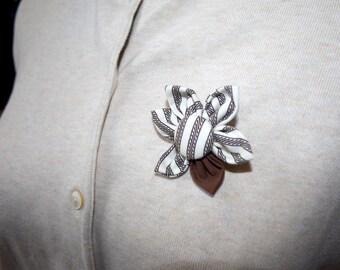 Tan and Brown Fabric Flower Brooch, Flower Pin - Handmade Fabric Flower