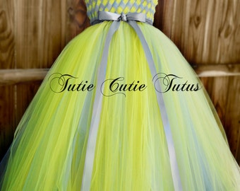 Flower Girl Woven Tutu Dress in Silver and Yellow