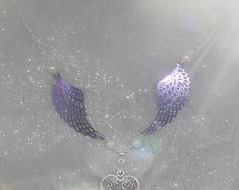 Purple and silver wings necklace