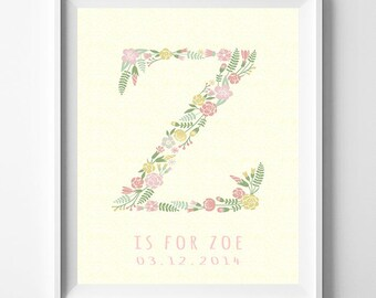 Monogram Art, Typography Art, Typographic Print, Alphabet Print, Zada, Zafirah, Zahavah, Zaida, Zaina, Zainabu, Initial, Fathers Day Gift