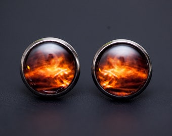 Golden Orange Nebula Earrings no. 09, Original Illustration, Stud Posts, Space Jewelry, Nebula Jewelry, Galaxy Jewelry, Cosmic Jewelry