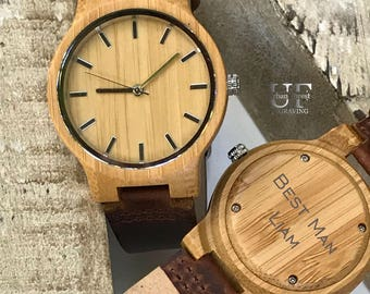 Bamboo Wood watch, Personalized Wooden Watch, Engraved Wood watch, Wood Watch men, Gifts For Men, Groomsmen Gift, Men Wooden Watch,Men watch