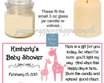 Personalized Printed GIRAFFE SAFARI JUNGLE Baby Shower Custom Candle Labels