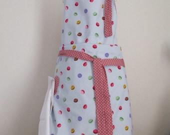 Apron, Macaroon Apron, Baking apron, Cooking Apron , Pinnie, reversible apron, Mothers Day gift pin on napkin