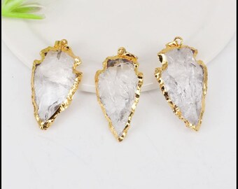 5pcs Nature Druzy Arrow shape Clear Quartz Crystal pendant,Gold Electroplated Druzy Drusy Crystal Quartz Gemstone pendant For Jewelry Making