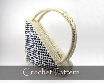 CROCHET PATTERN - Retro Crochet Purse Pattern Triangle Bag Crochet Purse Patterns Unusual Purse Pattern PDF - P0005