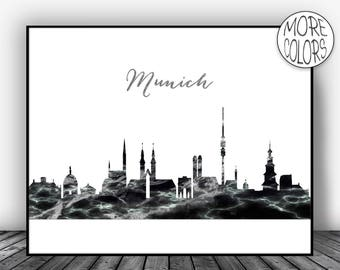 Munich Print Munich Germany Art Munich Skyline Office Wall Art City Skyline Prints Skyline Decor  Art ArtPrintsZoe
