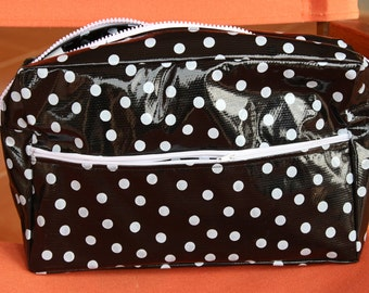 Lined Oilcloth Cosmetic Bag in Black and White Polka Dots