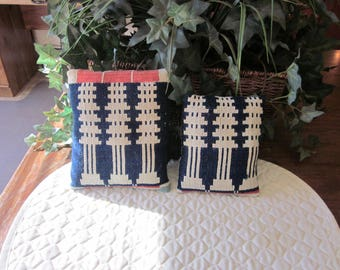 2 Primitive Antique Coverlet Pillows, Red, Navy, Indigo