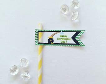 Patrick's day pencil/straw flags