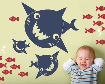 Kids Happy Shark Family Wall Decal: Ocean Nursery Sea Life Underwater Room Decor, Kids Shark Bathroom Wall Stickers