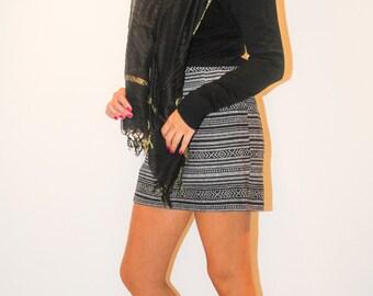 Ethnic style stripe skirt