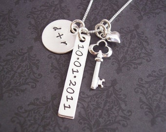 Handstamped Jewelry - Personalized necklace - Anniversary Gift - Bridal shower - Bar Necklace - Gift for Her - Say Anything Jewelry
