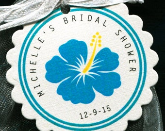 Bridal Shower Favor Tag - Bridal Shower Tag - Gift Tag - Wedding Tag - Round Tag -  Bright Blue Hibiscus - Personalized Tag - 25
