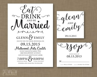 PRINTABLE Octavia Modern Wedding Invitation | RSVP Card | Custom Monogram