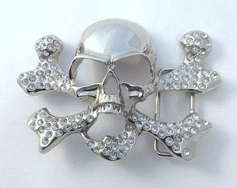 Vintage Silvertone & Rhinestone Skull and Crossbone Belt Buckle