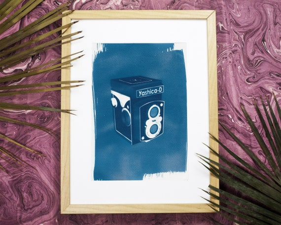 Yashica Twin-Len, Vintage Camera Lover, 3d Render Print, Cyanotype, Sun print,  Vintage Art, Polaroid Camera,  Limited Serie A4 size, film