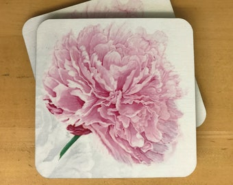 Pink Peony Cork Backed Coaster - Set of Two