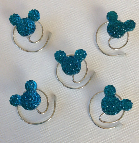 Hidden Mickey Hair Swirls-Disney Wedding-Bright Aqua Blue Acrylic-Debs Twisties-Coils Spins Spirals