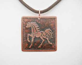 Trotting Horse Pendant Copper Jewelry Equestrian Jewelry Horse Necklace Horse Jewelry Etched Copper Jewelry