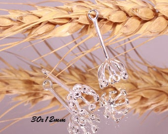 2 connectors pendant silver plated brass 8 branches 30x12mm