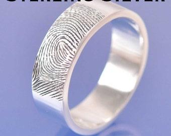 Fingerprint Ring. Sterling Silver