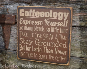 Coffeeolgy, Word Art, Primitive Wood Wall Sign, Typography, Subway Art, Handmade