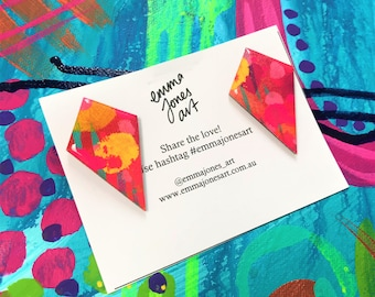 Tropical Fruit Kite Drop Resin Earrings Wearable Art