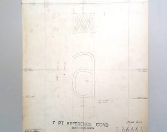 Letter 'a', type design, industrial drawing, original font casting drawing, typographic drawing. 1967.