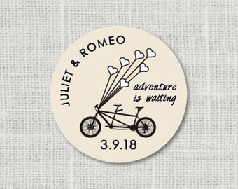 Tandem Bicycle Sticker, Save the Date Stickers, Bike Wedding Stickers, Wedding Favor Stickers