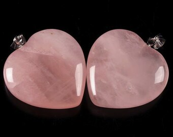 g1411 Two 25mm Rose quartz heart pendant focal bead