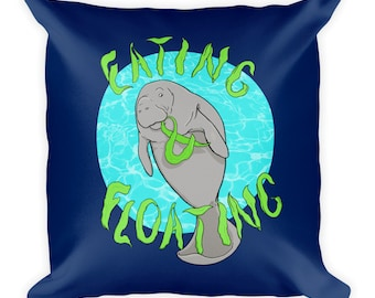 Eating and Floating Manatee Square Pillow