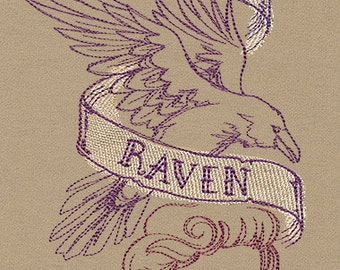 Handmade embroidered The Raven- Edgar Allan Poe Scarf