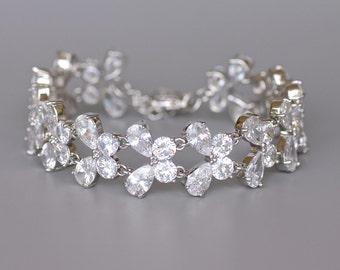 Crystal Bridal Bracelet, Crystal Bracelet, Silver Wedding Bracelet, Crystal Bridal Jewelry, Wedding Jewelry, PAPILLON