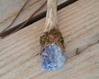 Driftwood moss necklace/real moss necklace/ driftwood jewelry/ sodalite moss necklace/ driftwood moss necklace/